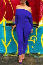 Fashion Sexy Double Zipper Diagonal Shoulder Blue Jumpsuits