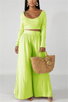 Fashion Leisure Commute Sexy Loose Fluorescent Green Two Pieces