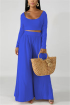 Fashion Leisure Commute Sexy Loose Dark Blue Two Pieces