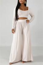 Fashion Leisure Commute Sexy Loose White Two Pieces