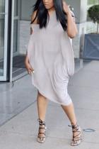 Sexy Off-The-Shoulder Slim Solid Color Lantern Light Brown Dress