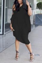 Sexy Off-The-Shoulder Slim Solid Color Lantern Black Dress