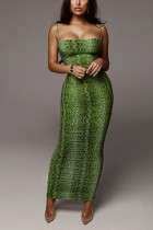 Fashion Sexy Tight-Fitting Chest Green Dress