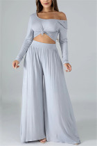 Fashion Leisure Commute Sexy Loose Gray Two Pieces
