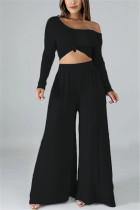 Fashion Leisure Commute Sexy Loose Black Two Pieces