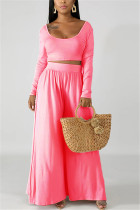 Fashion Leisure Commute Sexy Loose Pink Two Pieces