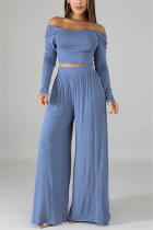 Fashion Leisure Commute Sexy Loose Light Blue Two Pieces