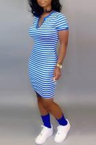 Leisure Commuter Stripe Printed Blue Slim Dress