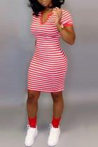Leisure Commuter Stripe Printed Red Slim Dress