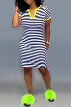Leisure Commuter Stripe Printed Yellow Slim Dress
