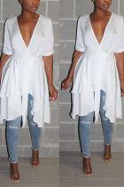 Casual Commuter Irregular White Cardigan Dress