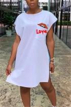 Sexy Fashion Stitching Retro White Dress