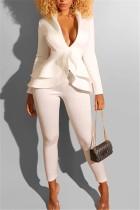 Fashion Sexy Ruffled Fashion White Suit
