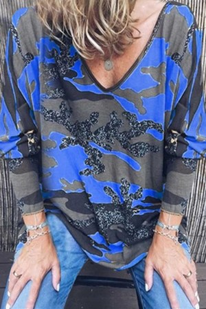Sexy V-Neck Loose Printed Long-Sleeved Blue Top