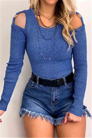 Sexy O Neck Solid Color Waist Long Sleeve Blue Top