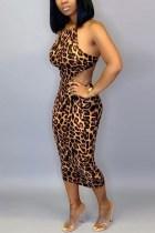 Sexy Temperament Strap Print Leopard Dress