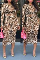 Fashion Mesh Brown Leopard Print Dress