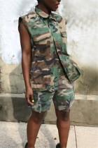 Fashion Casual Vest Tops Camouflage Suit