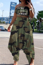 Fashion Army Green Camouflage Print Two Pieces