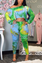 Fashion Sexy Off The Shoulder Print Green Two-piece Set