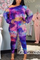 Fashion Sexy Off The Shoulder Print Purple Two-piece Set