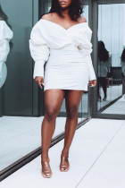 Fashion Casual Loose White Solid Dress