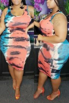 Casual Vest Sexy Print Large Size Blue Pink Dress