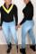 Fashion Casual Splicing Zipper Black Tops