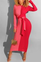 Fashion Stitching Personality Belt Red Dress