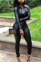 Casual Buttons Decorative Black PU Two-piece Pants Set