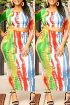 Fashion Colorful Leaky Belly Sexy Slim Multicolor Two-Piece Skirt