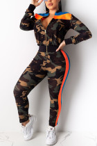 Fashion Casual Camouflage Print Two Pieces