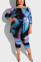 Fashion Casual Tie Dye Blue Jumpsuits