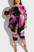 Fashion Casual Tie Dye Rose Red Jumpsuits
