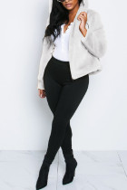 Fashion Comfortable Hooded Zipper Fur Fluff White Coat