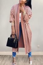 Fashion Casual Loose Pink Print Coats