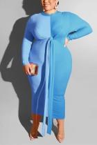 Casual Color Matching Bag Hip Strap Large Size Blue Dress