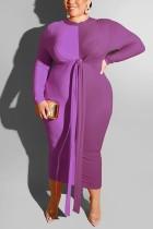 Casual Color Matching Bag Hip Strap Large Size Purple Dress