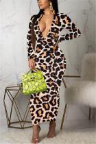 Fashion Print Long Sleeve Zip Leopard Dress