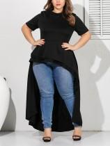 Fashion Round Neck Short Sleeve Pleated Irregular Large Size Black Dress