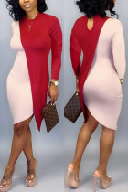 Autumn Long Sleeve Colorblock Red Dress