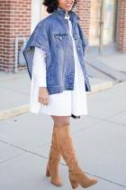 Denim Side Pocket Irregular Loose Blue Coat