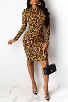 Fashion Leopard Print One Step Brown Dress