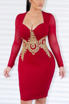 Fashion Temperament Mesh Applique Red Dress
