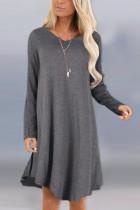 Fashion Sexy Long Sleeve O Neck Dark Gray Dress
