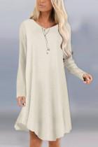 Fashion Sexy Long Sleeve O Neck Beige Dress