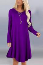 Fashion Sexy Long Sleeve O Neck Purple Dress