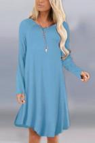Fashion Sexy Long Sleeve O Neck Light Blue Dress