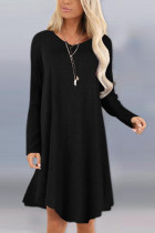 Fashion Sexy Long Sleeve O Neck Black Dress