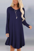 Fashion Sexy Long Sleeve O Neck Dark Blue Dress